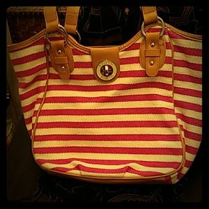 Rosetti pink and white striped bag.